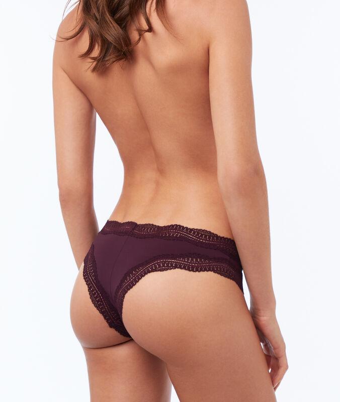 Tanga bords dentelle graphique violet.