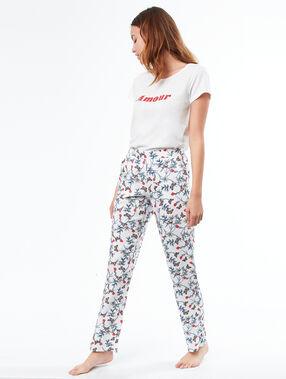 Pantalon imprimé ecru.