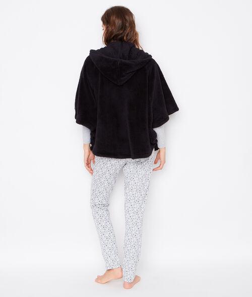 Pyjama 3 pièces, pantalon imprimé panda et veste cape