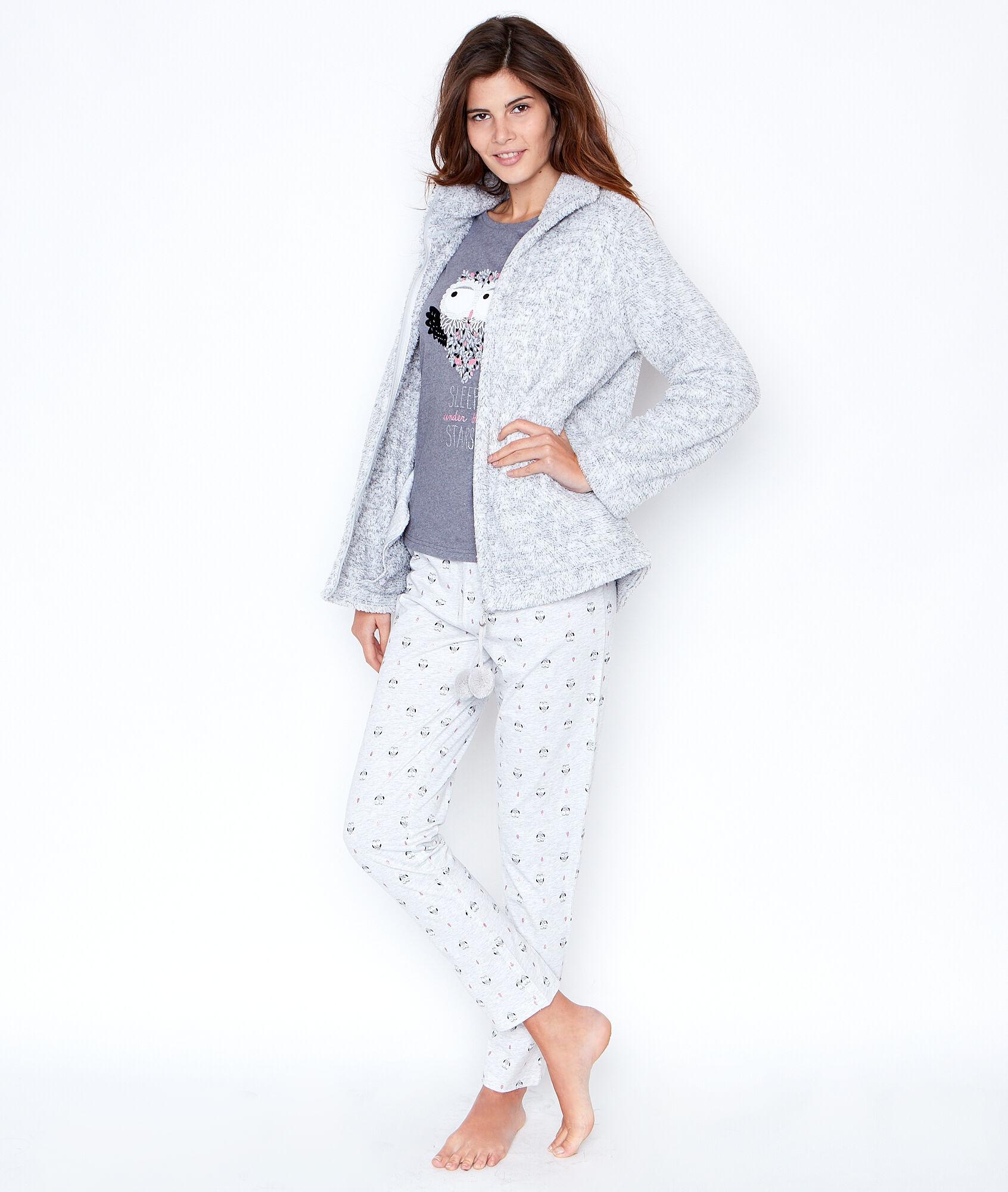 pyjama 3 pi ces pantalon imprim et veste toucher polaire. Black Bedroom Furniture Sets. Home Design Ideas