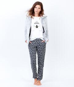 Pyjama 3 pièces, pantalon imprimé et veste toucher polaire gris clair.