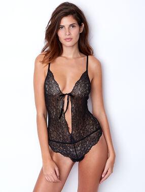 Body bloemenkant en tule op de rug noir.