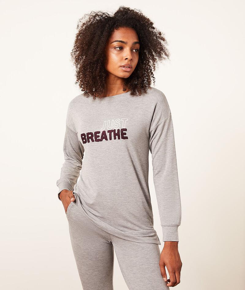 "Top manches longues ""Just breathe"";${refinementColor}"