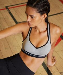 Sportbeha, push-up effect en zwemmersrug - medium ondersteuning grijs.