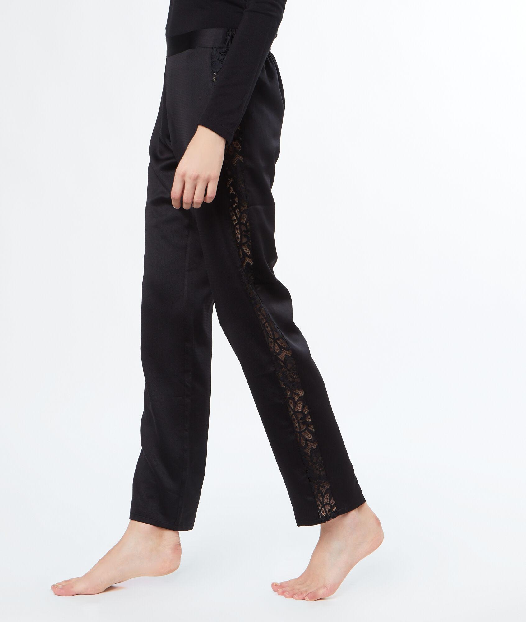 Pantalon satin dentelle cotés - TASHA - NOIR - Etam 447b5d631ba4
