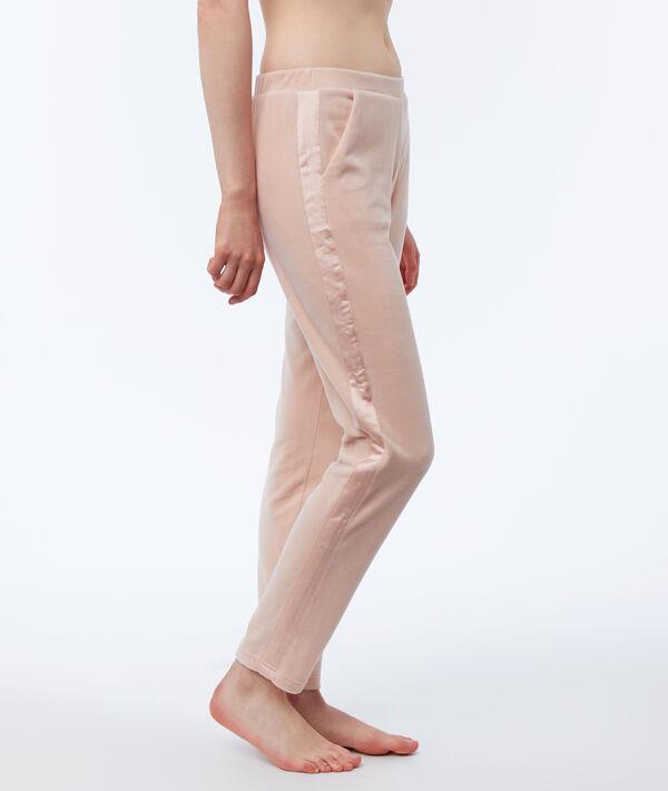Pantalon homewear velours bande satin;${refinementColor}
