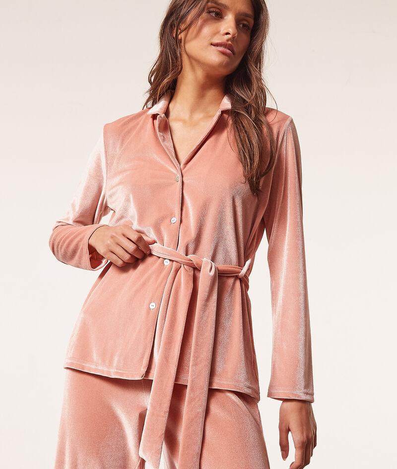 Fluwelen pyjamahemd met knoopdetail;${refinementColor}
