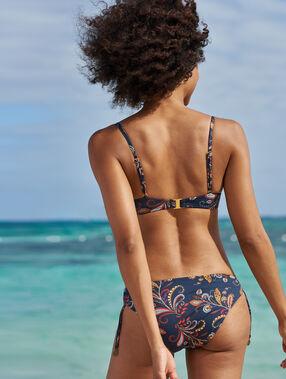 Bas de bikini à nouer imprime fond marine.