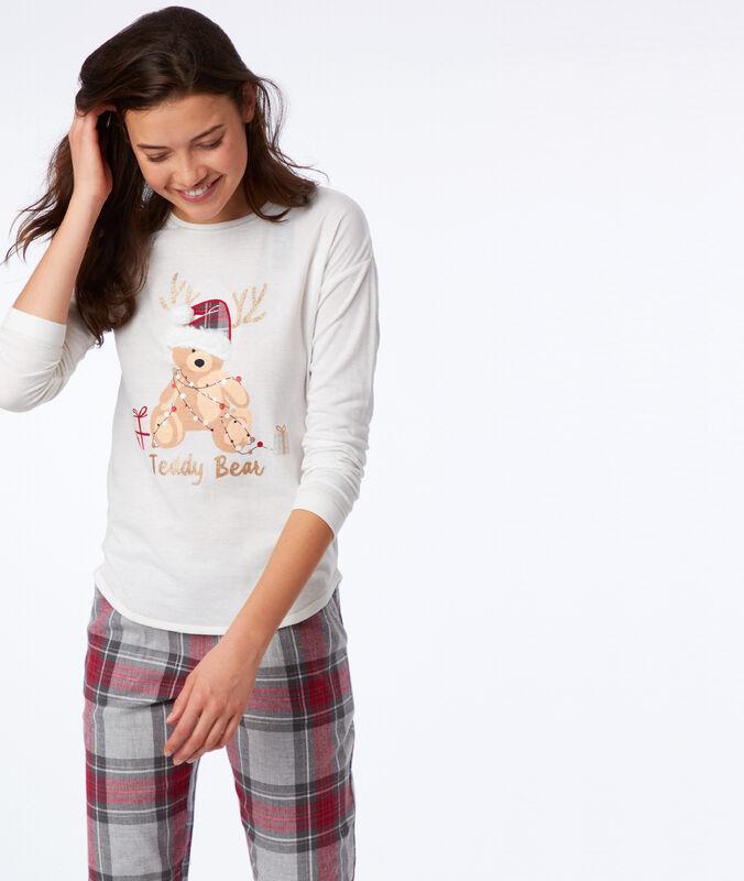 T-shirt à message détails fausse fourrure ecru.