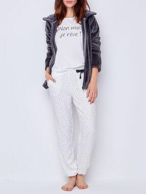 Pyjama trois pièces, veste doudou gris.