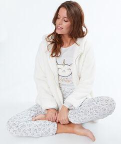 Pyjama 3 pièces chat licorne beige.