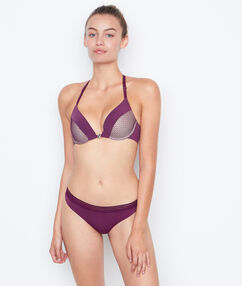 Tanga bi-matière violet.