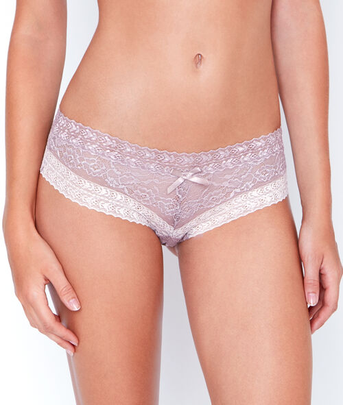 Shorty en dentelle florale bicolore