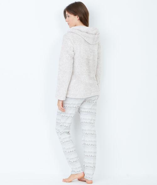 Pyjama 3 pièces, veste toucher polaire