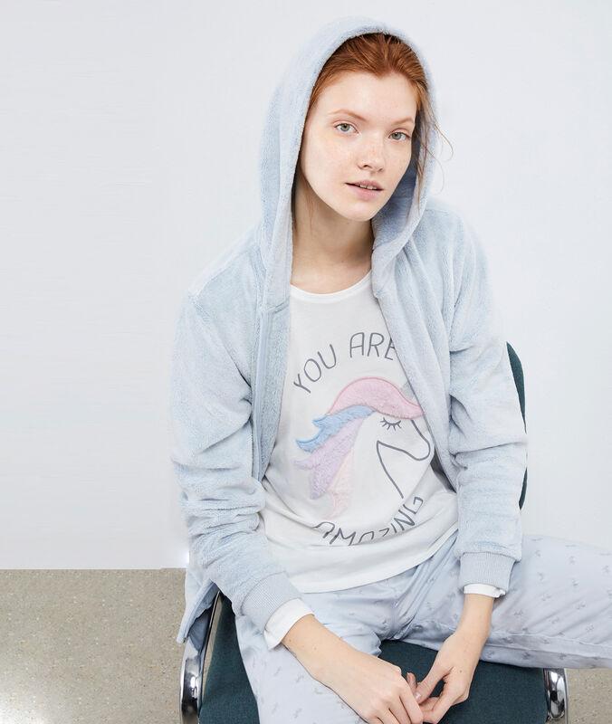 Pyjama 3 stukken met print eenhoorn lichtblauw.