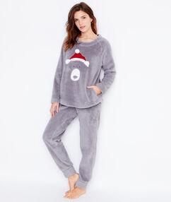 Pyjama 2 pièces toucher polaire gris.