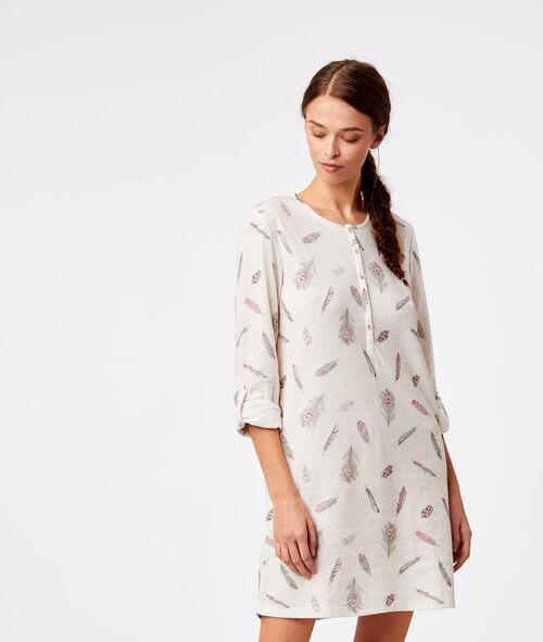 Chemise de nuit boutonnée imprimé plume Etam Etam Nuit > MODÈLES > Chemises de Nuit