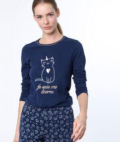 T-shirt imprimé chat licorne bleu.
