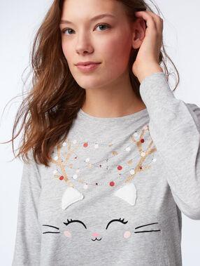 T-shirt avec oreilles en fausse fourrure gris.