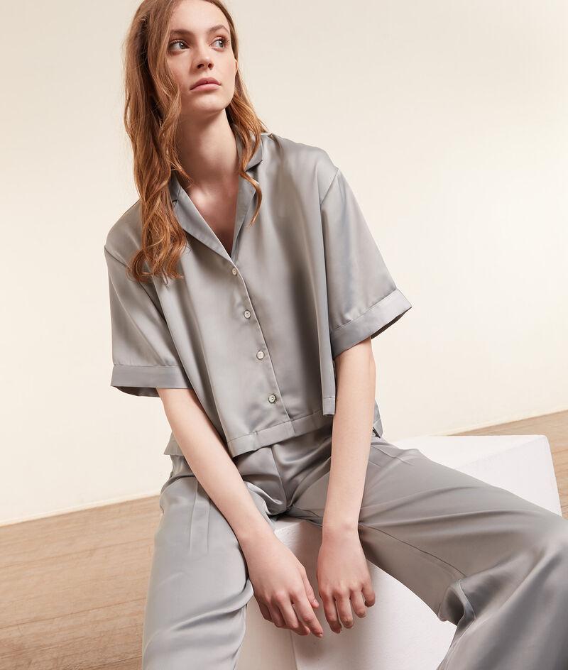 Chemise pyjama satinée manches courtes;${refinementColor}