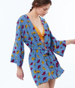 Kimono motifs wax bleu.