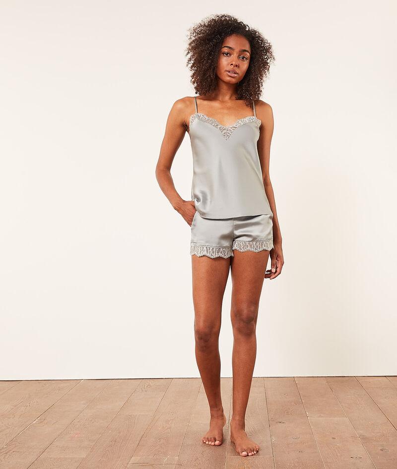 Satijnen shorts met kanten boord;${refinementColor}