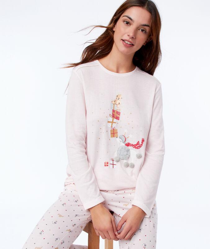 T-shirt avec détails en 3d rose.
