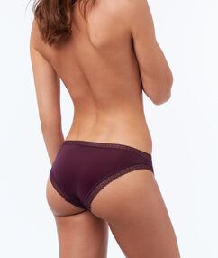 Culotte bi-matière violet.
