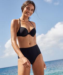 Bas de bikini taille haute noir.