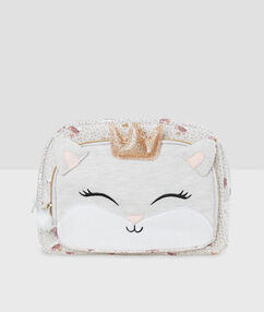 Trousse de toilette chat beige.