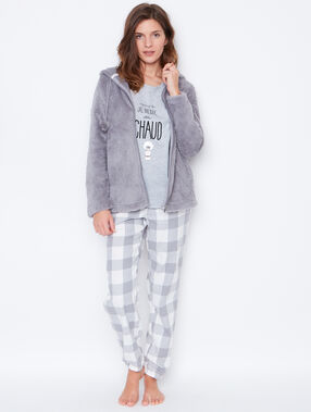 Pyjama 3 pièces, haut imprimé, bas à carreaux gris.