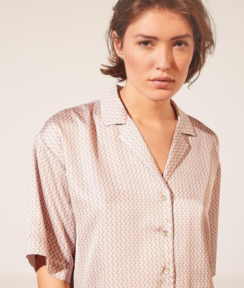 Satijnen shirt met korte mouwen en print;${refinementColor}