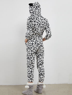 Combinaison pyjama dalmatien ecru.