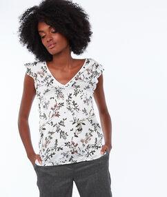 T-shirt imprimé fleurs ecru.