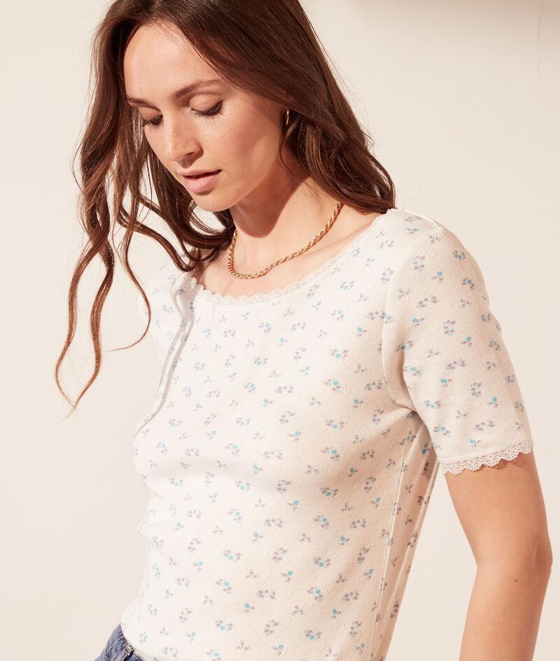 T-shirt pointelle en coton bio dos décolleté