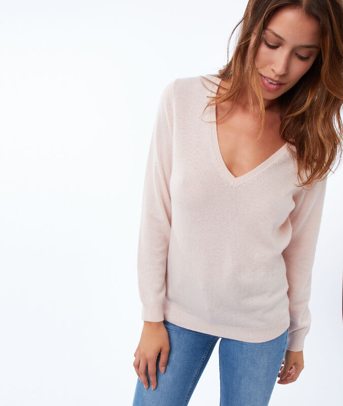 Pull col v 100% cachemire nude.
