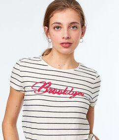 T-shirt à rayures écru.