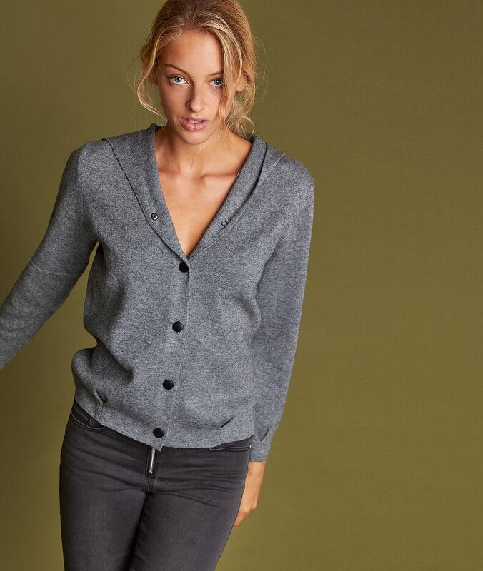 Veste courte à capuche gris chiné clair.