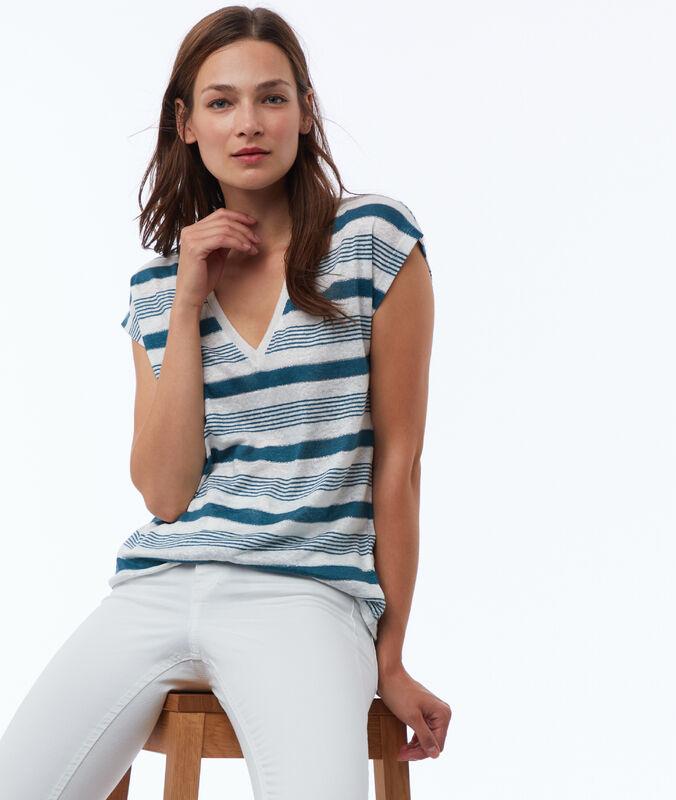 T-shirt à rayures en lin mélangé canard.
