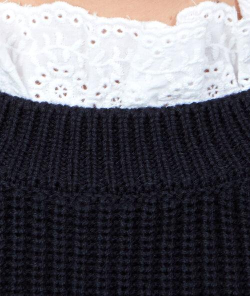 Pull tricot 2 en 1 avec col en dentelle