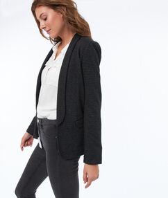 Getailleerde blazer met sjaalkraag zwart.