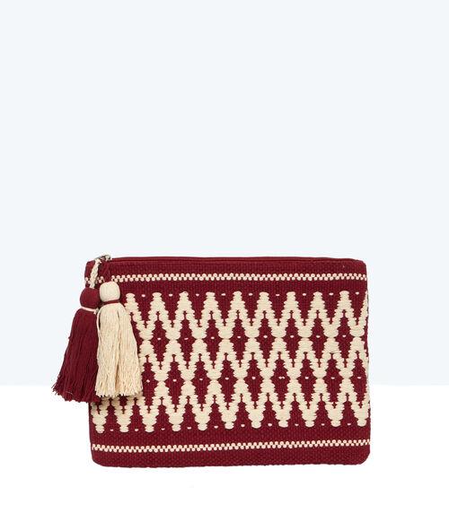 Tasje borduurwerk Azteekse print met pompons