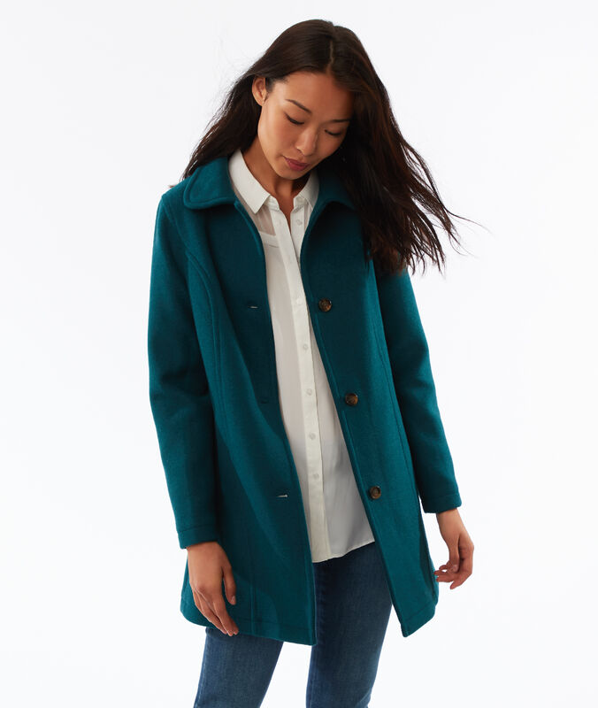 Manteau 3/4 boutonné bleu canard.