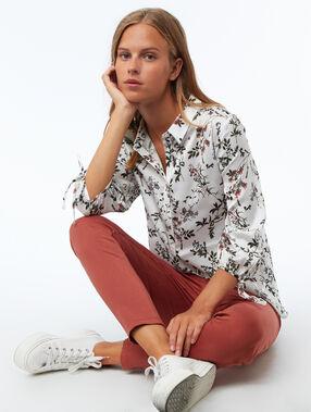 T-shirt met bloemenprint ecru.