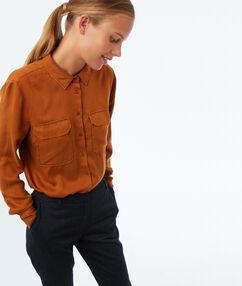 Tencel® shirt met 2 zakken bruin.