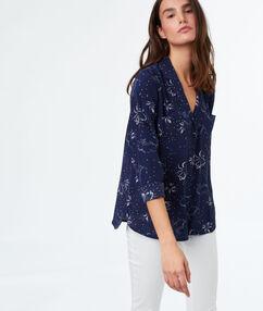 Chemise motif à fleurs bleu marine.