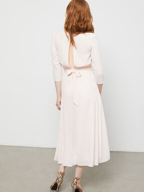 Robe longue nouée au dos nude.
