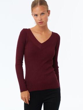 Open v-hals corduroy trui rood.