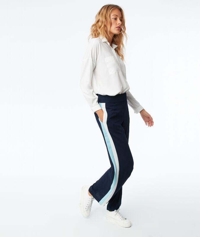 Pantalon large avec bande latérale bleu marine.