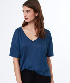 T-shirt lin col v bleu d'encre.